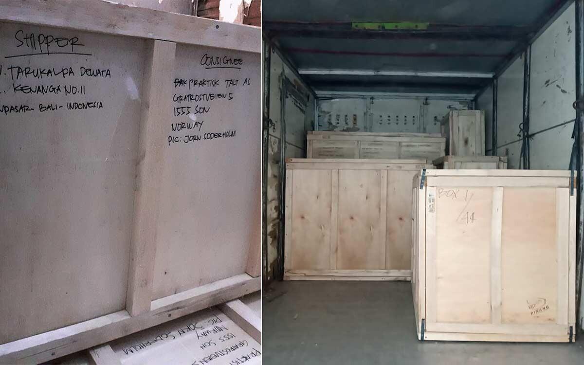 Kasser fulle av håndverk til transport. Sendes til nettbutikk Umah i Norge.